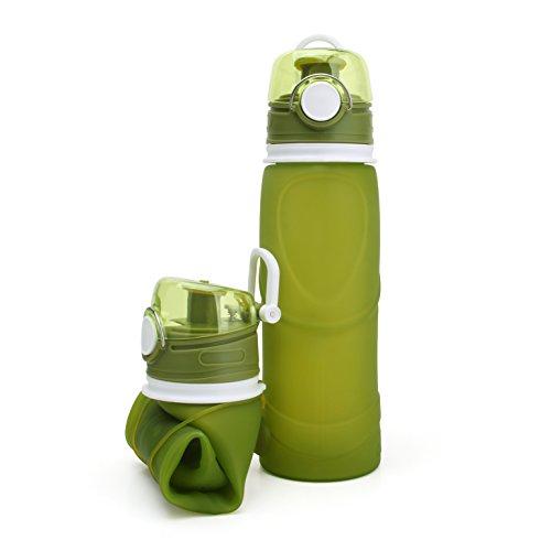 Hownew-X 750ml Faltbare Trinkflasche Sport BPA frei Silikon Faltbare Flaschen Fitness für Outdoor, Reisen, Radfahren,Camping (Grün)