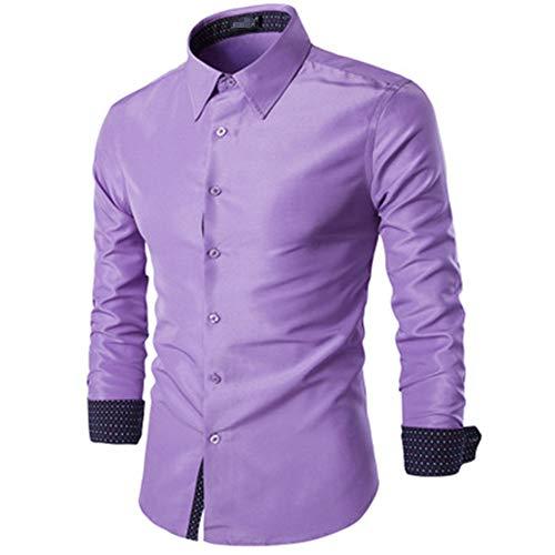 qulvyushangmaobu Herrenhemd Seidenhemden für Herren Oberhemden Button-Down-Kragen Casual-Smokinghemden Oberhemd Slim Fit Langarm Elastisches Abendhemd Casual-Button-Down-Shirts für Herren