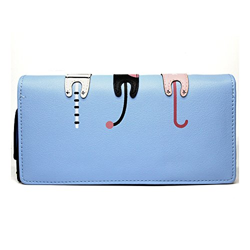 Portafoglio Donna Grande Pelle Cute Cat Borsa Long Wallet- Blue