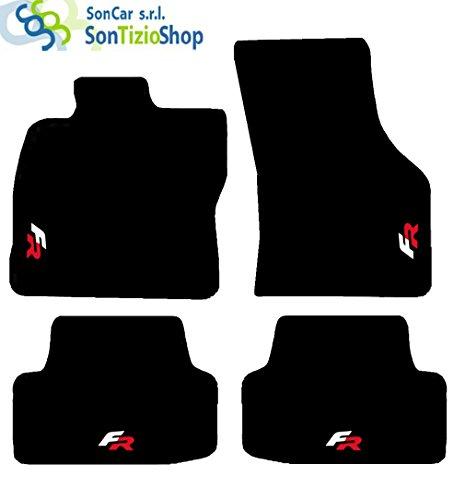 Preisvergleich Produktbild Teppiche Schwarz für Auto. Komplettset von Fußmatten handgefertigt aus Teppichboden und passgenau für Seat Leon ab 2013mit Stickerei: Fr. Bianco Rosso
