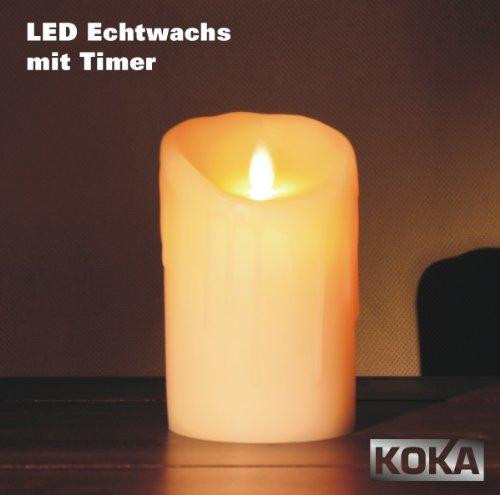 Sompex Flame LED-Echtwachskerze mit Timer elfenbein glatt 9,5x18