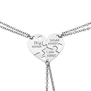 Elegante Rose Sets von 3Edelstahl Schwester Halskette mit Herz Muster Halskette kreatives Geschenk für Freunde Mädchen