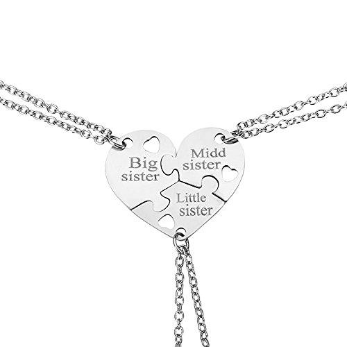 Elegant Rose, set di 3collane in acciaio inox che unite formano un cuore, modello creativo e ideale come regalo tra amich