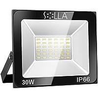 SOLLA Faretto a LED da 30W, IP66 Resistente all'acqua LED esterno, Bianco Caldo 3000K, 2400LM, 24 mesi di garanzia