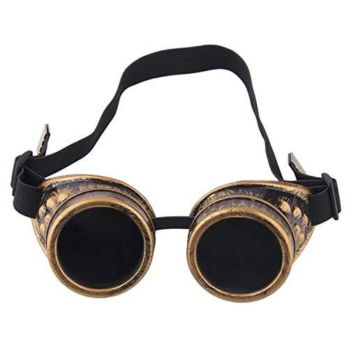 TRIXES Steampunk, Schweißer Brille, Party - Accessoire, Kostüm, Karneval - Zubehör, Messing - Optik, verstellbar