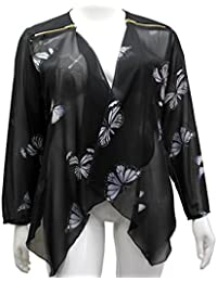 GirlTalkFashions New Womens Plus Size Waterfall Open Front Sheer Butterfly Top