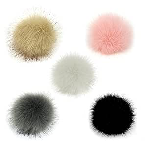 045dc930d Gosear 5 Pcs Faux Fur Pom Poms for Hats - 10cm Faux Fur Fluffy Pom Pom Ball  with Elastic Cord Removable Knitting Hat Accessories for Woolen Knit ...