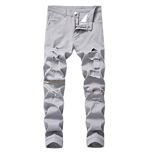 Xmiral Jeans Uomo Moda Biker Strappato Jogger Distressed Lavato Slim Fit Pantaloni Gamba Affusolata personalità Strappato Slim Zipper Pantaloni Stretch (32,8- Grigio)