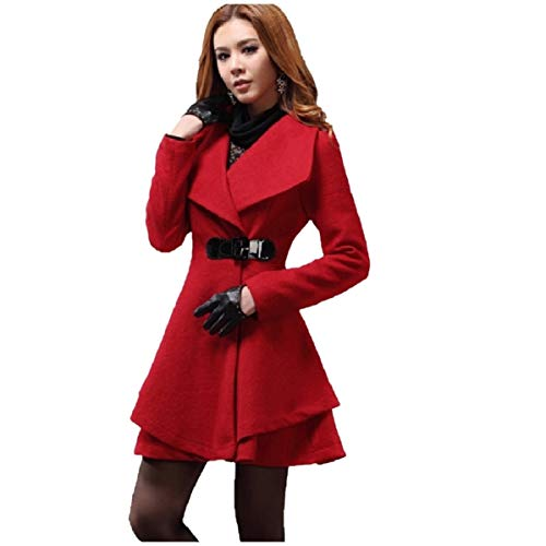 CuteRose Women Slim Fit Peplum Lapel Neck Parka Jackets Woolen PEA Coat Red S -