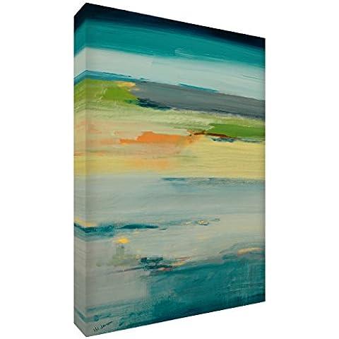 Feel Good Art VJ-TRANQUILITY1216-15TEALIT Tramonto Azur Quadro da Galleria su Tela, Dipinto Astratto Originale, Artista Val Johnson , Multicolore, 40 x 30 x