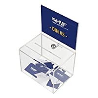 La boîte acrylique de HMF est verrouillable et convient parfaitement à différents usages, comme urne pour concours, tirelire etc. Par le dispositif à insérer une feuille de papier, se trouvant sur la partie inférieure, il est possible d'y placer un a...