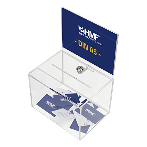 HMF 46913 Spendenbox, Aktionsbox, Losbox, Acryl mit Din A5 Blatteinschub, 16,0 x 21,5 x 16,0 cm