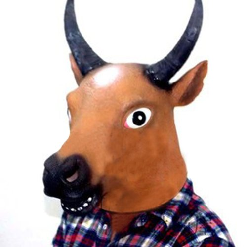 Cow Head Horse Face Animal Mask Prop per Halloween Festival Costume