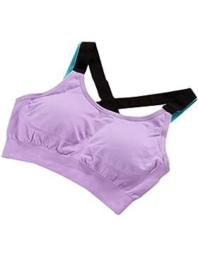 taottao mujeres gimnasio color a juego elástico entrenamiento camiseta de tirantes sin costuras Fitness Yoga Acolchado...
