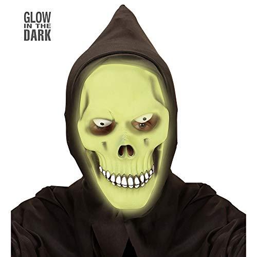 Widmann 00369 Halbmaske Grim Reaper Glow-in-The-Dark mit Kapuze, - Scheletro Kostüm