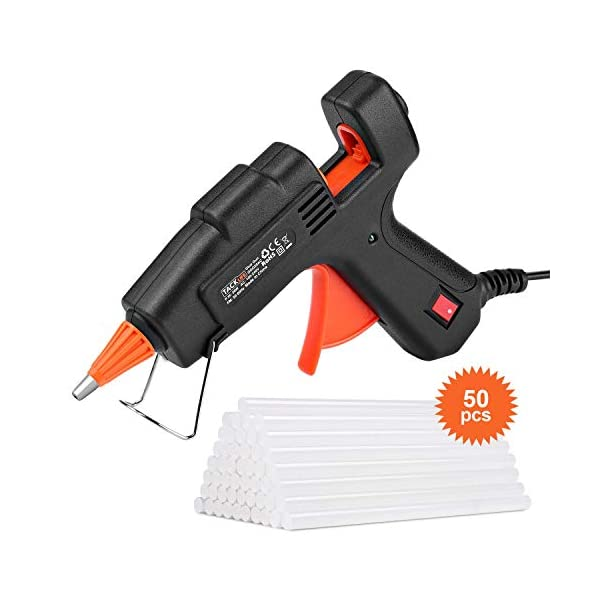 20W Hot Glue Gun, Tacklife GGO20AC Quick Heats Up 20W Mini Hot Melt Glue Gun with Glue Sticks (50pcs,100mm), Brass Nozzle for DIY Art Crafts,Small Repairing Jobs,Fabric,Wood,Glass,Card,Toys 41296uRWNcL