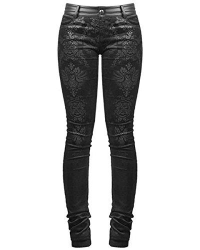 Punk Rave Vittoriano Damasco Jeans Pantaloni Skinny Pantaloni Neri Gotica Steampunk VINTAGE - Nero, XXL - UK Womens Size 16