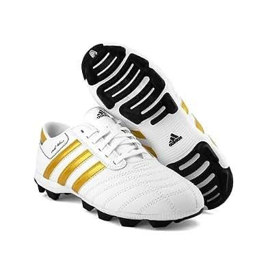 Adidas - Chaussure Foot Cuir Véritable - Xabi Alonso - Adidas Adinova Hg - Couleur : Blanc / Or - Taille : 38