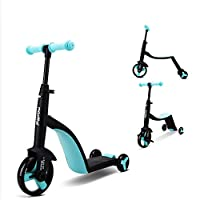 3 Wheel Scooter for Kids Kick Scooter with Anti-Slip Deck Kids Tricycle 3 in 1 Toddler Balance Bike Scooter Ride On Toys (Blue)