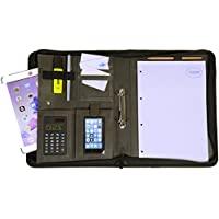 Dossier porte-bloc A4 noir/gris - Le dossier est en imitation cuir de haute qualité - Votre organiseur idéal muni d'une fermeture éclair et d'un classeur à anneaux pour conserver vos documents