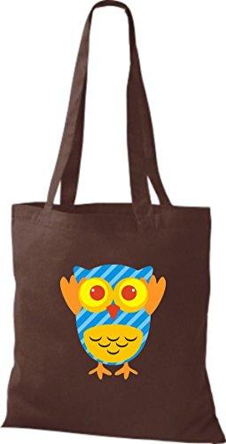 ShirtInStyle Jute Stoffbeutel Bunte Eule niedliche Tragetasche mit Punkte Owl Retro diverse Farbe, braun braun