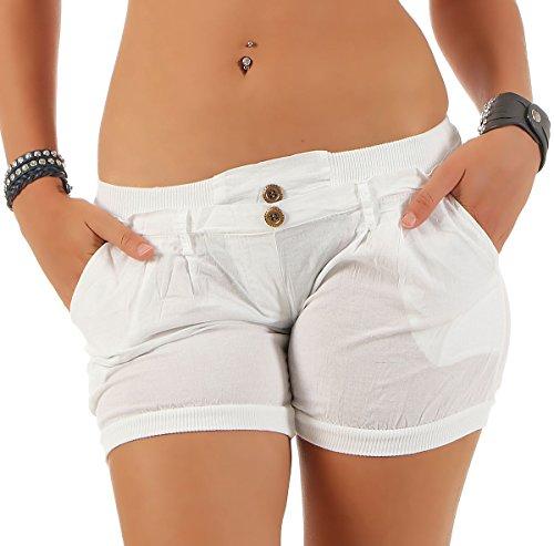 Malito Damen Shorts in Unifarben | lässige Kurze Hose | Bermuda für den Strand | Pants - Hotpants 6089 (weiß, L)