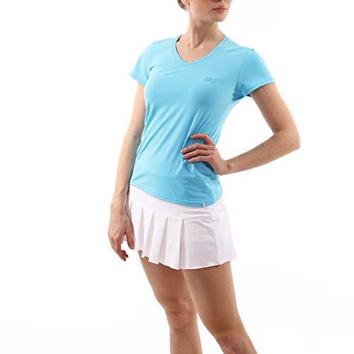 Sportkind Mädchen & Damen Tennis, Fitness, Sport T-Shirt V-Ausschnitt, hellblau, Gr. M