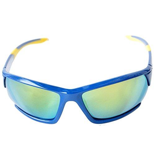 Sport Sonnenbrille Polarisiert für Damen und Herren mit hartem Etui für Radfahren, Laufen, Angeln, Klettern, Skifahren, Bergsteigen, Wandern (Blau, Gelb, Spiegel Linse)