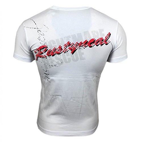 Herren T-Shirt Mix Motive Strass Steine Style Rundhals Kurzarm S M L XL XXL NEU 3359 Weiß