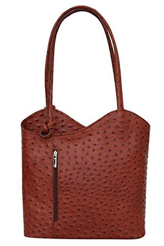 AMBRA Moda Damen Handtasche Lederrucksack Rucksacktasche Backpack 2in1 Rucksack Schultertasche SL703 (Dunkelblau)