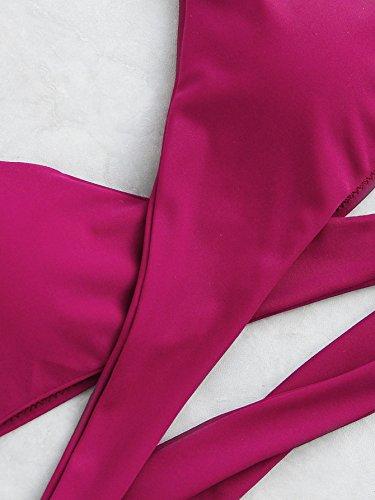 ROMWE Damen Neckholder Bikini Set Push Up Triangel Bikinis Purpurrot