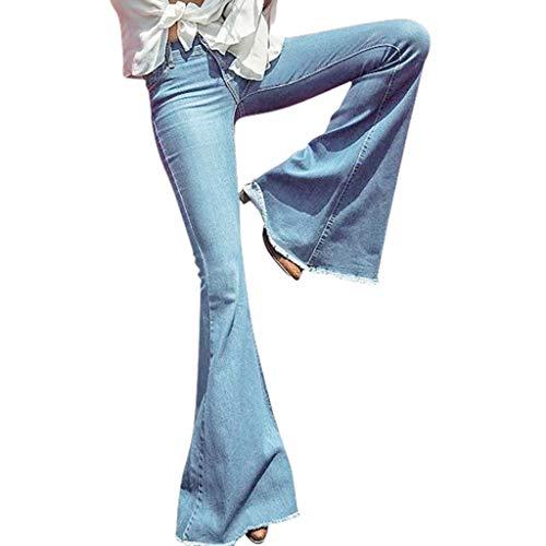 OYSOHE Damen Jeans Mid Waist Slim Fit Denim-Hose Baggy Pants Flare-Hose (Medium, Hellblau) Flare Denim Jeans-hose