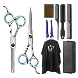 Juego de tijeras de peluquería Frcolor para entresacar el cabello, tijeras de peluquería con capa de barbero y peine de maquinilla de afeitar, clips, set de corte de pelo profesional mejorado
