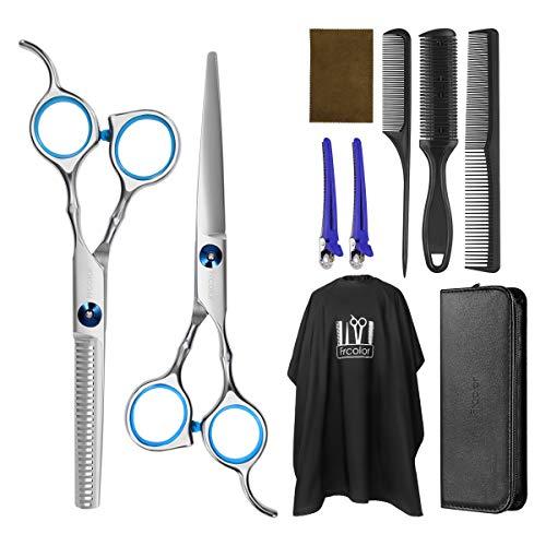 Frcolor set di forbici da parrucchiere forbici per sfoltire i capelli set con mantella da barbiere rasoio e clip set professionale per tagliare i