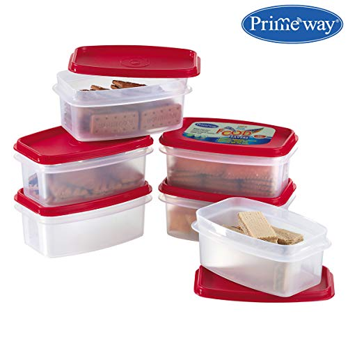 Primeway® Modular Kitchen Food Savers Plastic Storage Containers, 500ml, 6 Pcs Set, Red