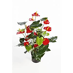 bouquet d 39 anthuriums artificiel rouge deluxe 80 cm fleur artificielle artplants amazon. Black Bedroom Furniture Sets. Home Design Ideas
