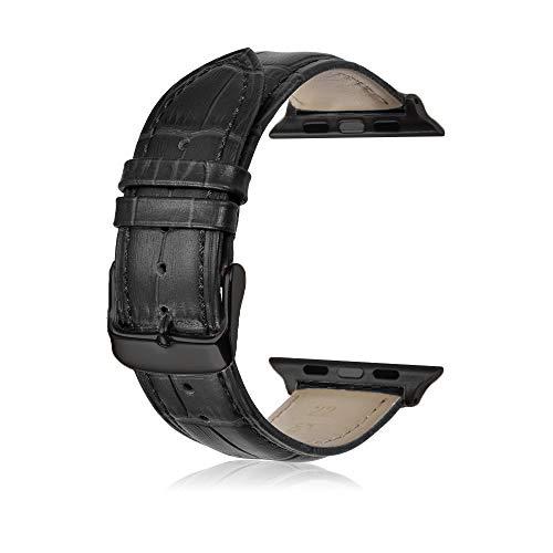 Uhrenarmbänder Kompatible für Apple Watch 40mm Serie 4 Armband Leder Krokodil Muster Ersatz Armband Band Schwarz Dornschließe Adapter für Männer Frauen-Schwarz
