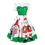 SEWORLD Weihnachtskatzen Damen Elegant Abendkleid Weihnachten Party Kleid Mesh Brautkleid Retro Weihnachtsmann Drucken Spitze Abendkleid(X3-grün,EU-36/CN-L)