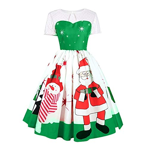 SEWORLD Weihnachtskatzen Damen Elegant Abendkleid Weihnachten Party Kleid Mesh Brautkleid Retro...