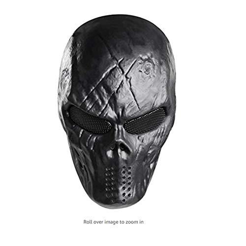 Full Face Skull Maske mit Metall Mesh Augenschutz für Airsoft Paintball Spiel Party Kostüm - Schwarz