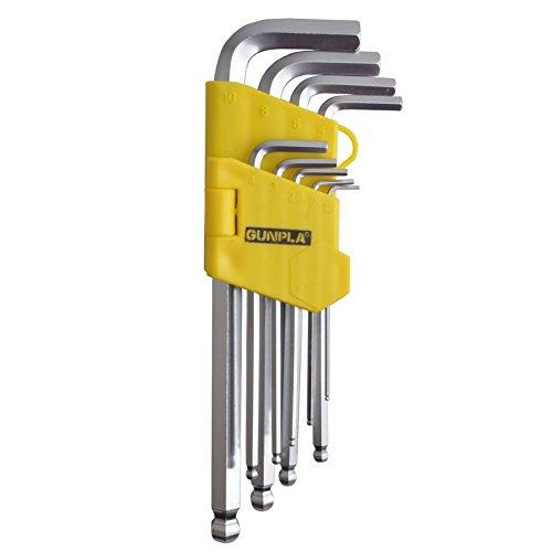 Gunpla Inbusschlüssel Set/Satz 9 Stück Winkelschlüsselsatz für Innensechskant-Schrauben,Lang, 1.5 bis 10 mm