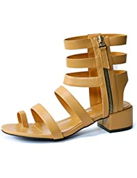 LGK&FA Female Fashion Toes with Sandals and High Heels Thirty-Four Brown