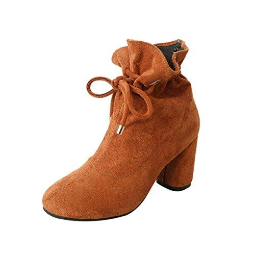 Damen Schlupfstiefel, Sunday Frühlings Beiläufige Aufladungen der Frauen im Freien Schnüren sich oben Quadratische Ferse Ankle Schuhe (Braun, 38 (EU:38.5))