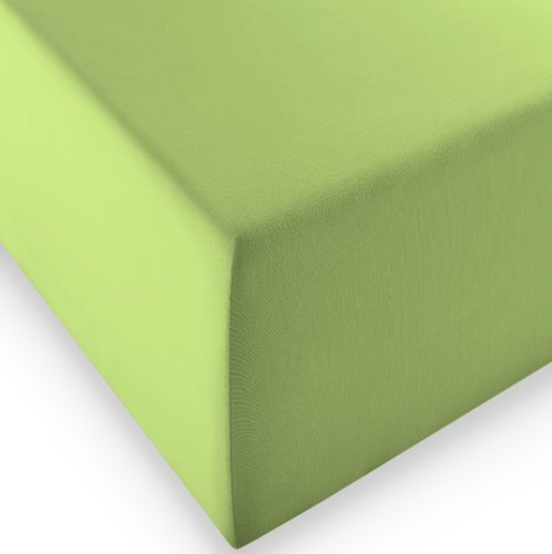 sleepling Komfort Jersey-Elastic Stretch Spannbettuch Spannbettlaken für Matratzen bis 30 cm Höhe (215 gr. / m²) mit 3{4aa4bae974c4d8544b62cf24d92dc03a064603a228c76ef892e48c13d7b8743d} Elastan 180 x 200-200 x 220 cm, grün