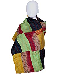 Indistar Vintage Silk Hand Quilted Kantha Hand Work Dupattas Reversible Scarves Scarf Patchwork Multicolor(80200... - B0767M8QCK