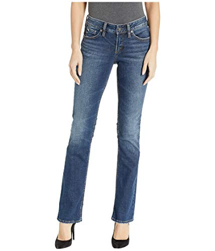 Silver Jeans Co. Damen Suki Curvy Fit Mid Rise Slim Bootcut Jeans, Vintage Dark Wash, 27Wx 33L (Miss Me Bootcut Jeans)