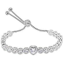 Tuscany Silver Sterling Silver Rhodium Plated Star Sliding Adjustable Bracelet K6RckMmMs