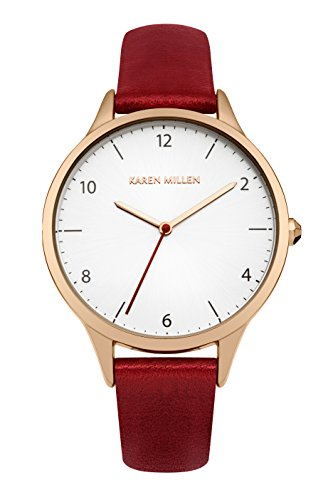 Karen Millen Women's Quartz Watch with White Dial Analogue Display and Red Leather Strap KM147RRG