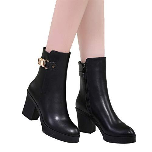 Hochhackige Kampfstiefel (LXIANGP Stiefel Damen, hochhackige Plattform und Samtrohr britische Wind Leder Stiefel Damenstiefel Frühling und Herbst Winter Outdoor Damenschuhe (34-40))