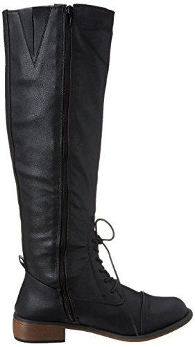 Dirty Laundry Camp Fire Damen Rund Kunstleder Mode-Knie hoch Stiefel Black